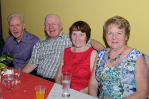 At the Clontibret Social Club Christmas Party in the Clontibret Community Centre were (L-R) Benny Smith, Martin and Maura Lynch and Cora Smith. ©Rory Geary/The Northern Standard