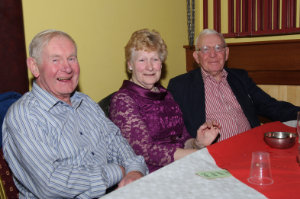 At the Clontibret Social Club Christmas Party in the Clontibret Community Centre were (L-R) Michael Holland, Maureen and Paddy Lappin. ©Rory Geary/The Northern Standard
