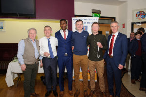 The Monaghan Senior Mens team who were presented at the awards function in Concra Wood Golf Club were (L-R) Eamon Hackett, manager, Owen McNally, Eskander Turki, Conor Duffy, Christopher McGuirk and Alan Clarke, chairman of the Monaghan County Athletics Board. ©Rory Geary/The Northern Standard
