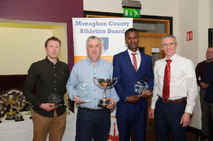 At the presentation of the awards for the Monaghan Road League Senior Mens Category, were (L-R) Christopher McGuirk, Glaslough Harriers, 3rd, Paul O'Neill, representing Shane Brady, Clones AC, winner, Eskander Turki, Monaghan Town Runners, 2nd and Alan Clarke, chairman of the Monaghan County Athletics Board. ©Rory Geary/The Northern Standard