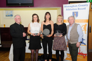 At the presentation of the awards for the Monaghan Road League 35-45 Ladies Category, were (L-R) Fr Corrigan, Sinead Doherty, Wetlands AC, 3rd, Donna Mone, Monaghan Town Runners, winner, Eithne McGorman, Carrick Aces, 2nd and Eamon Hackett. ©Rory Geary/The Northern Standard