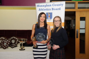 At the presentation of the awards for the Monaghan Road League Senior Ladies Category, were (L-R) Nicola Flanagan, Blayney Rockets, winner and Niamh Carty, 2nd. Missing from photo is Emma O'Hanlon Geary, Glaslough Harriers, 3rd. ©Rory Geary/The Northern Standard