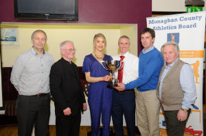 At the presentation of the Monaghan County Athletics Board Club of the Year Award to Carrick Aces, were (L-R) Brian Peppard, Fr Corrigan, Ann Linden, Carrick Aces, Alan Clarke, chairman of the Monaghan County Athletics Board, Alan Hill, Carrick Aces and Eamon Hackett. ©Rory Geary/The Northern Standard