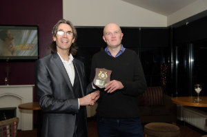 Aidan Campbell, left, Blayney Rockets, making a presentation to Patrick Cassidy, in appreciation of his photography for the County Monaghan Athletics events during the past year. ©Rory Geary/The Northern Standard