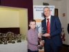 James McQuaid, Glaslough Harriers, being presented with his award by Alan Clarke, chairman of the Monaghan County Athletics Board. ©Rory Geary/The Northern Standard