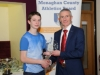 Liam McKenna, Glaslough Harriers, accepting his award by Alan Clarke, chairman of the Monaghan County Athletics Board. ©Rory Geary/The Northern Standard