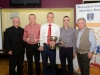 At the presentation of the awards for the Monaghan Road League Over-40 Mens Category, were (L-R) Fr Corrigan, Stephen Dignham, Blayney Rockets, 3nd, Alan Clarke, Blayney Rockets, winner, Derek Callan, Blayney Rockets, 3rd and Eamon Hackett. ©Rory Geary/The Northern Standard