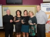 At the presentation of the awards for the Monaghan Road League 45+ Ladies Category, were (L-R) Fr Corrigan, Martina McEnaney, Carrick Aces, 3rd, Marie McArdle representing Helen McCrystal, Monaghan Phoenix AC, winner, Audrey Harraghey, Monaghan Phoenix AC, 2nd and Brian Peppard. ©Rory Geary/The Northern Standard