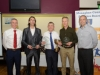 At the presentation of the awards for the Monaghan Road League 50+ Mens Category, were (L-R) Alan Clarke, chairman of the Monaghan County Athletics Board, Aidan Campbell, Blayney Rockets, 3rd, Owen McNally, Glaslough Harriers, winner, Mark Macklin, Monaghan Town Runners, 2nd and Brian Peppard. ©Rory Geary/The Northern Standard