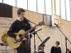 Fintan Treanor singing at the Cycle Against Suicide event at St Macartan's College on Tuesday morning. ©Rory Geary/The Northern Standard
