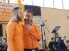 Craig Hill, left, speaking at the Cycle Against Suicide about suicide with founder Jim Breen. ©Rory Geary/The Northern Standard