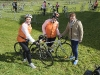 Eilish Smith,Granard and Joanne O'Brien, Longford with Caroline McMenamin, right, who hosted them when they stayed in Monaghan as part of the Cycle Against Suicide. ©Rory Geary/The Northern Standard
