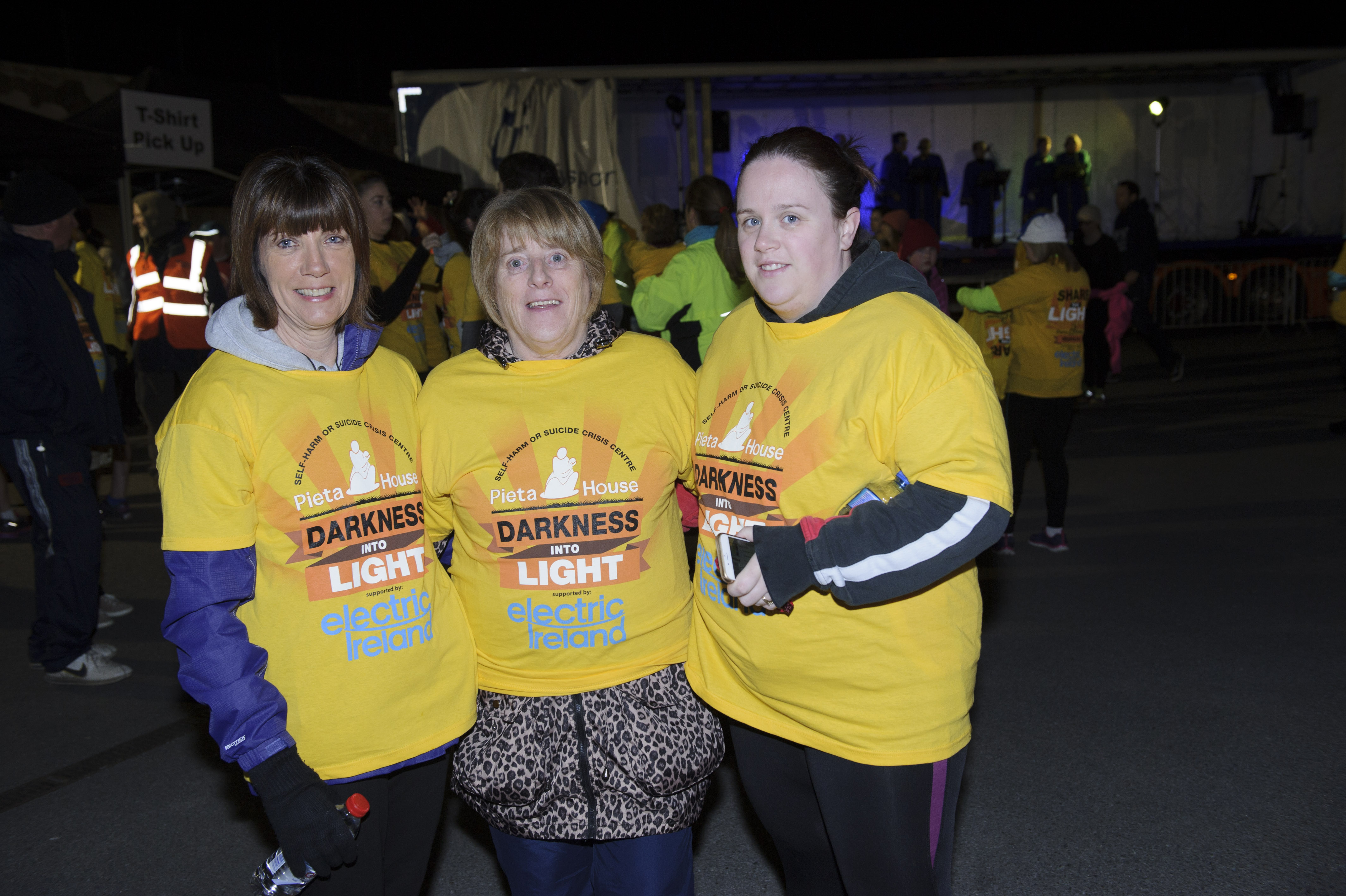 At the Darkness Into Light 5k for Pieta House were (L-R) Eithne McStravog, Bernie Myers and Ciara McGreevey. ©Rory Geary/The Northern Standard