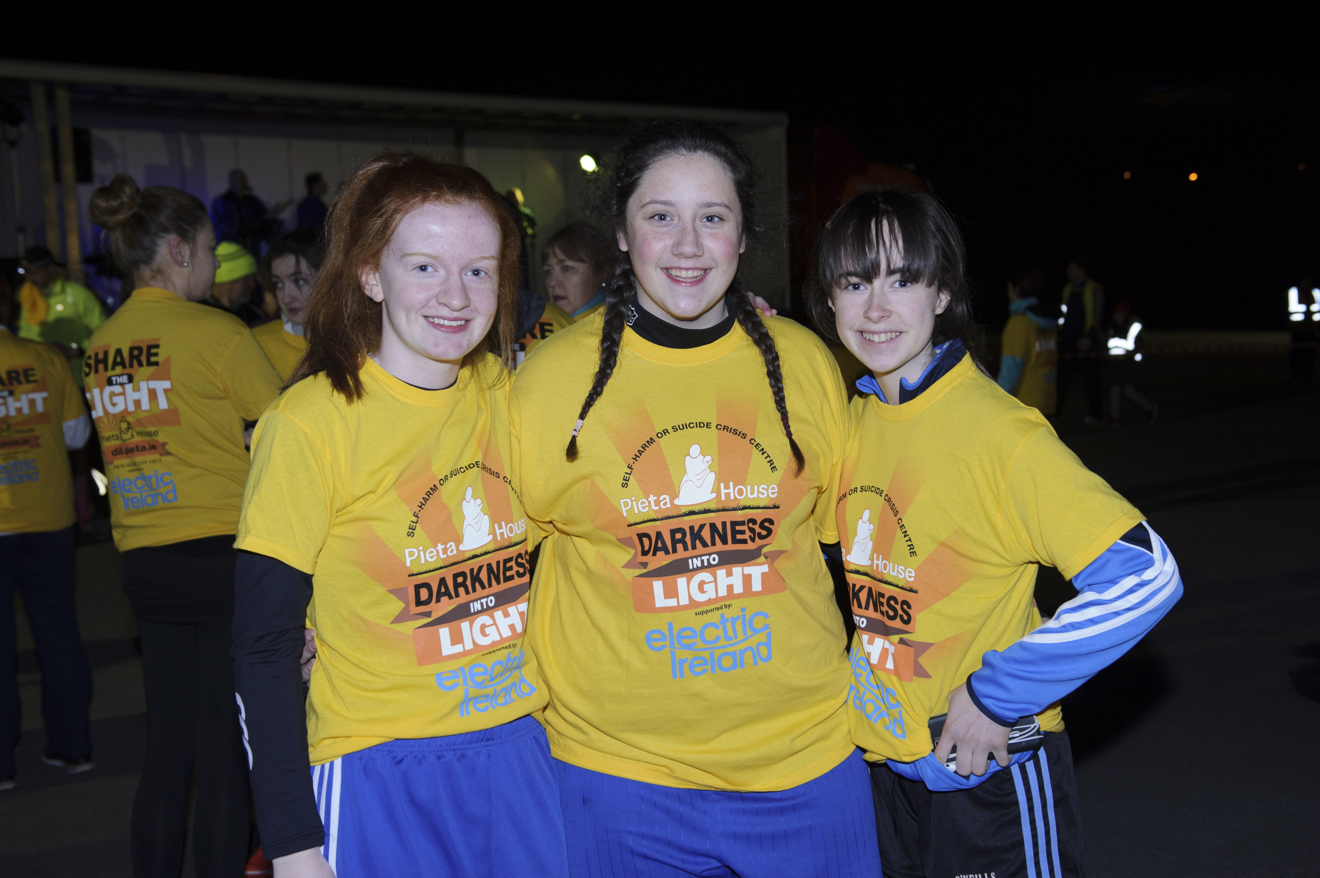 (L-R) Laura Drumm, Gemma Johnston and Dervla McAree at the Darkness Into Light at the Monaghan Harps GFC. ©Rory Geary/The Northern Standard