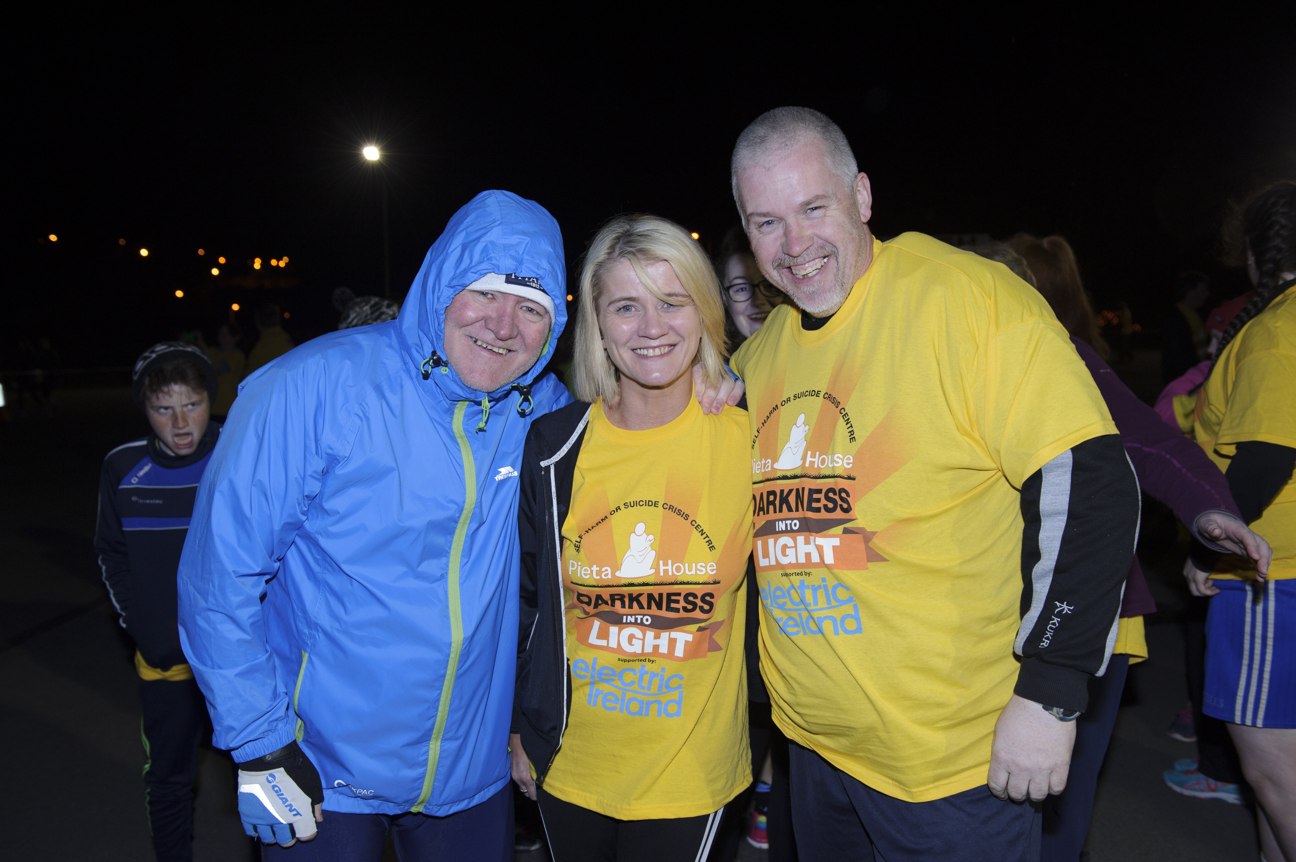 At the Darkness Into Light 5k for Pieta House were (L-R) Martin Murphy, Amanda McKenna and Fabian Murphy. ©Rory Geary/The Northern Standard