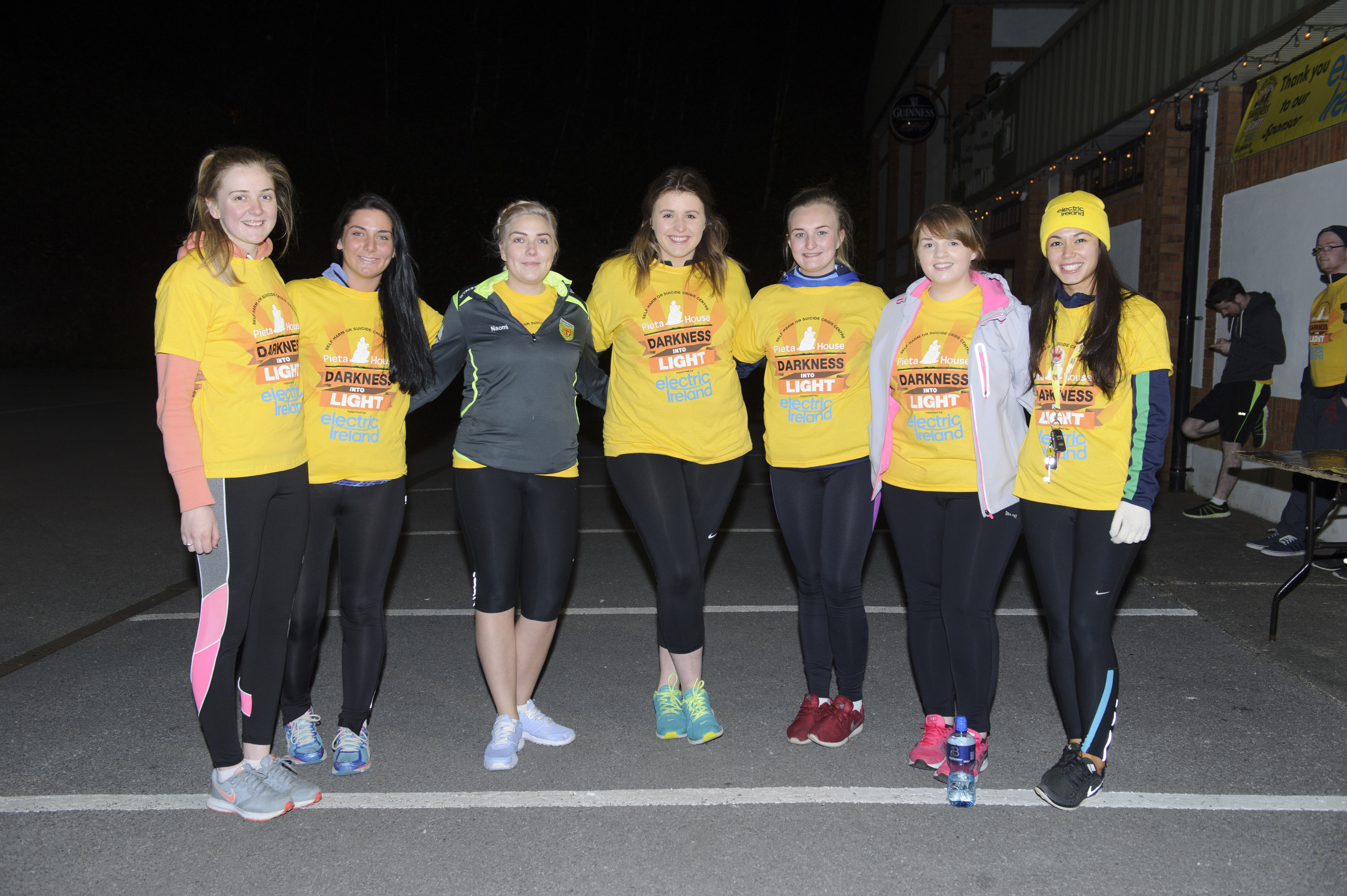 Some of the group from the Monaghan Rose of Tralee who took part in the Darkness Into Light at Monaghan Harps. Included are (L-R) Sinead McCarey, Rebecca Duffy, Naomi Hutchinson, Grainne O'Connor, Elaine McKiernan, Cáit Beggan and Eimear Galligan. ©Rory Geary/The Northern Standard