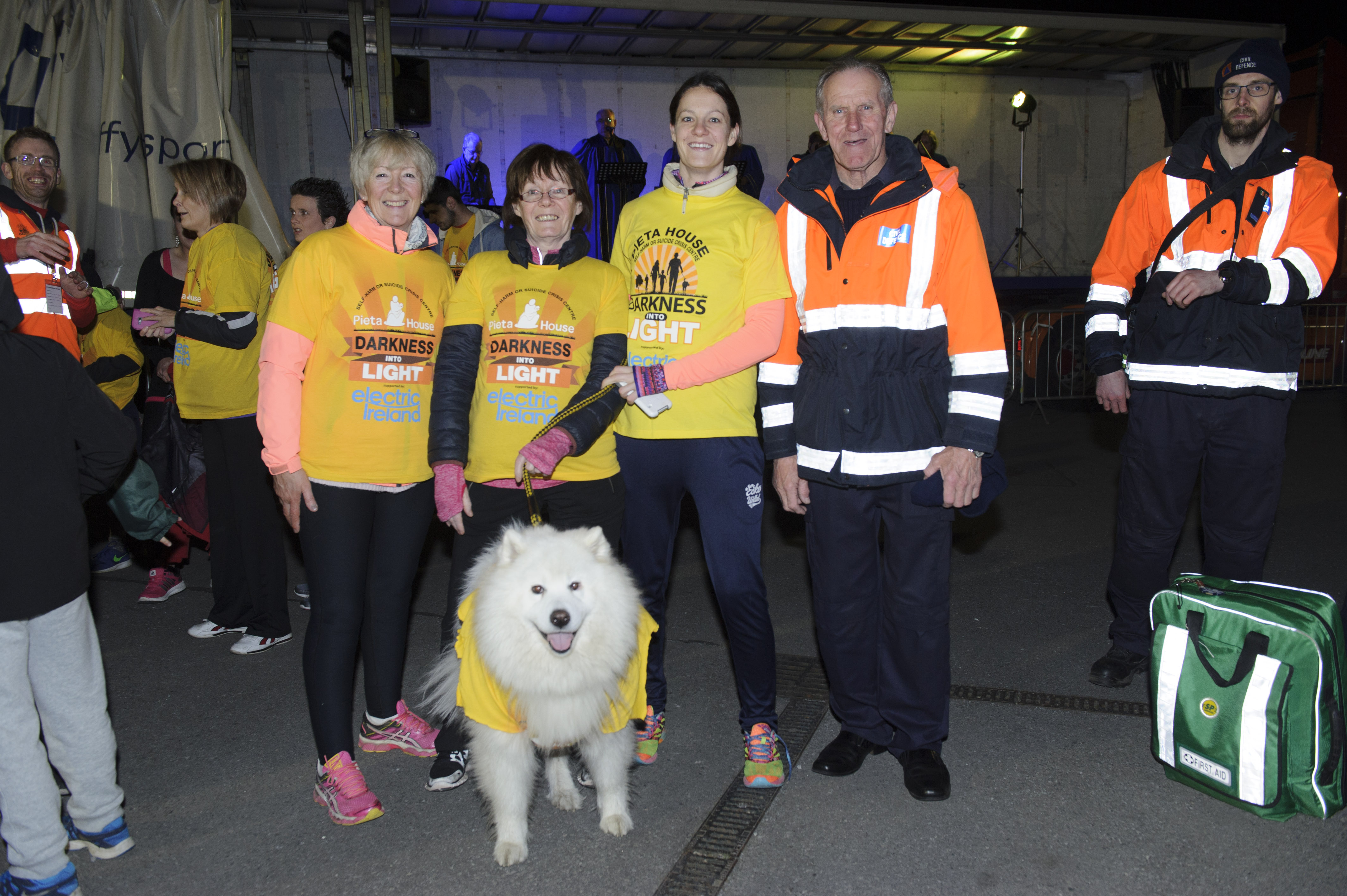 Evan McKenna, Ann McAdam, Lynn McAdam and Tony Fitzpatrick with Teddy at the Darkness Into Light in Monaghan. ©Rory Geary/The Northern Standard