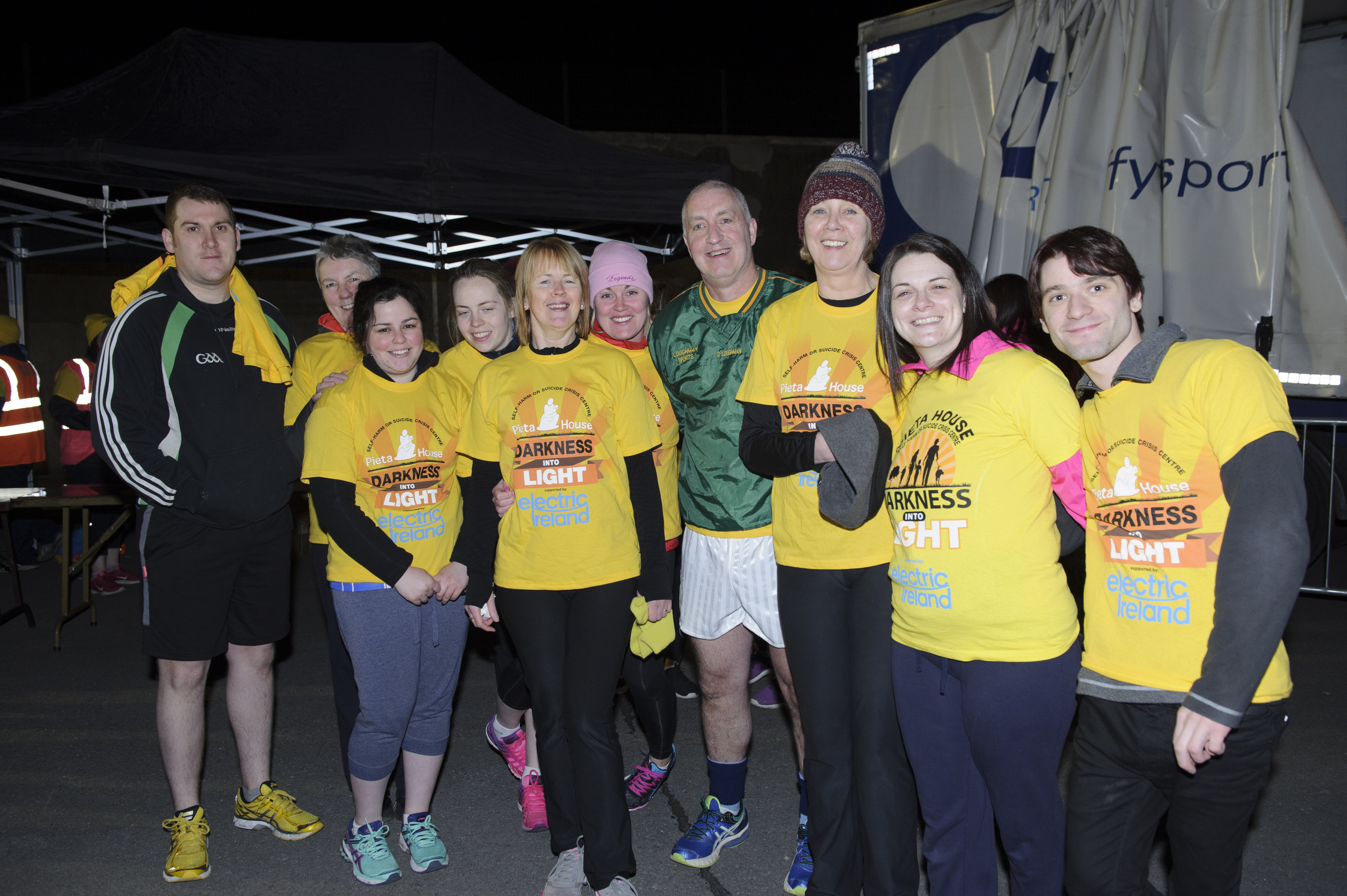 Declan Loughman Sports and Coyle's Pharmacy staff, who took part in the Darkness Into Light at the Monaghan Harps GFC. ©Rory Geary/The Northern Standard
