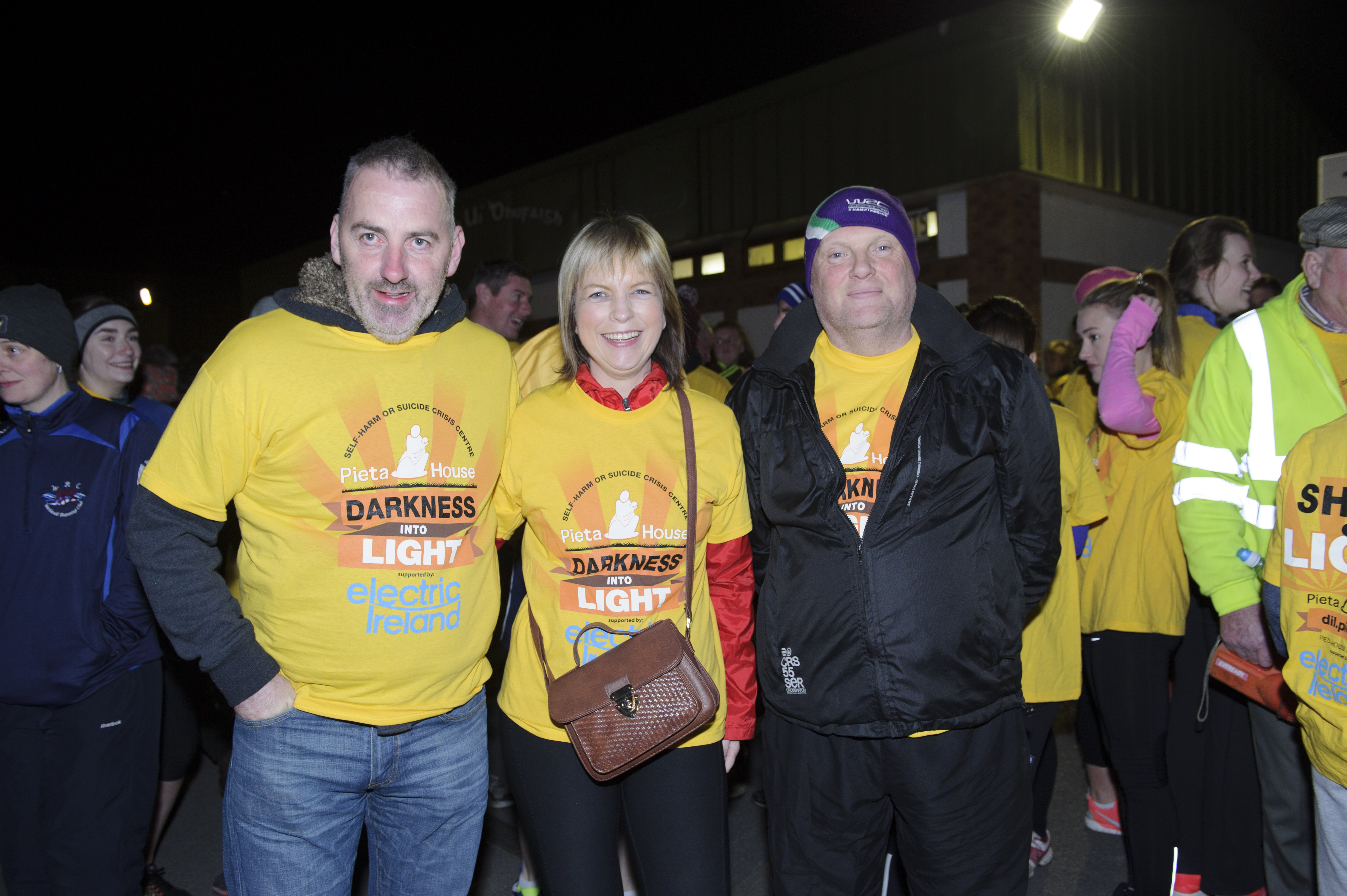 At the Darkness Into Light 5k for Pieta House were (L-R) Brian McKenna, Sharon Murphy and Sean Craig. ©Rory Geary/The Northern Standard