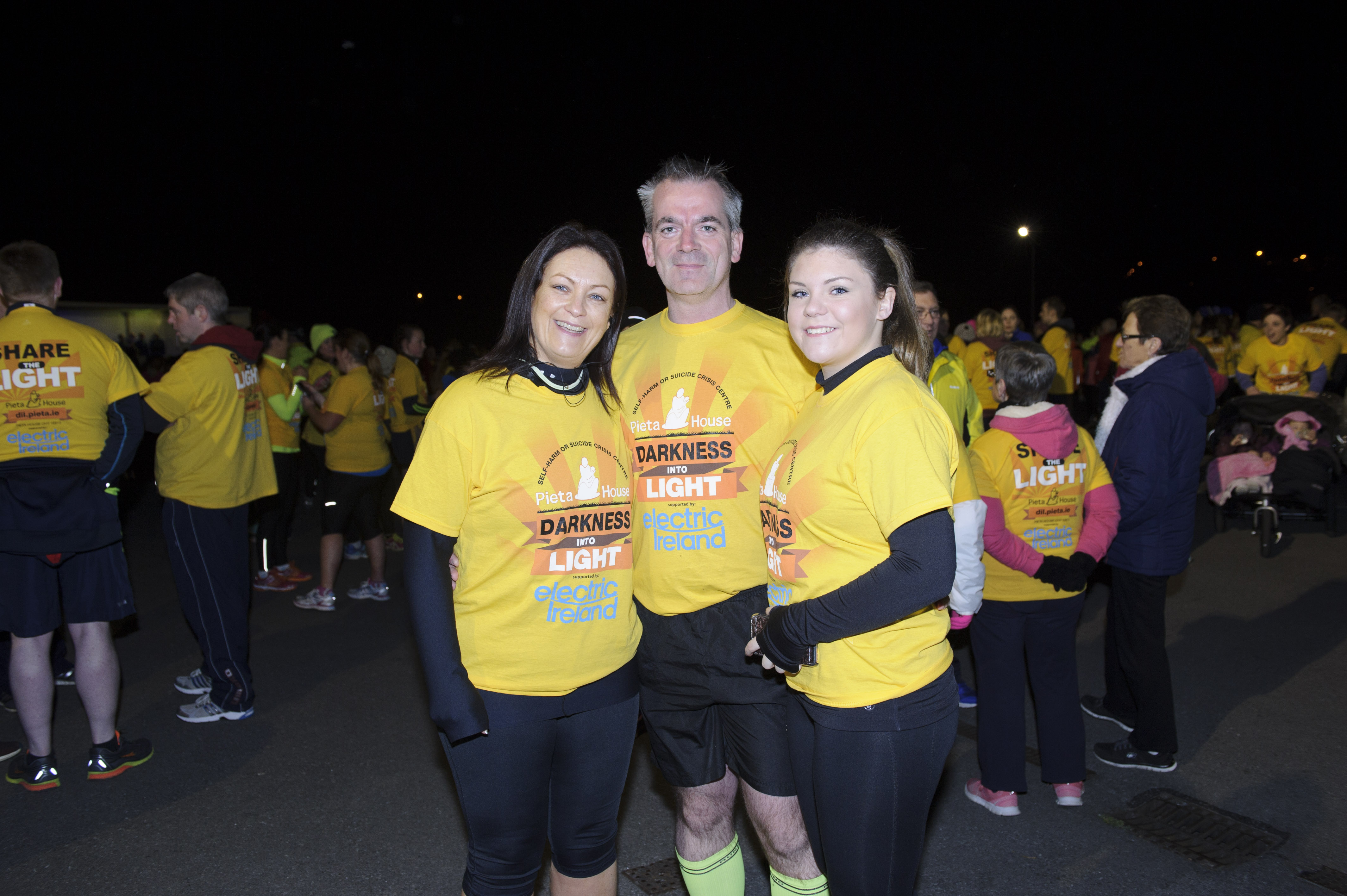 Ann Marie Campbell, Paul Campbell and Shannon Campbell at the Darkness Into Light 5k. ©Rory Geary/The Northern Standard