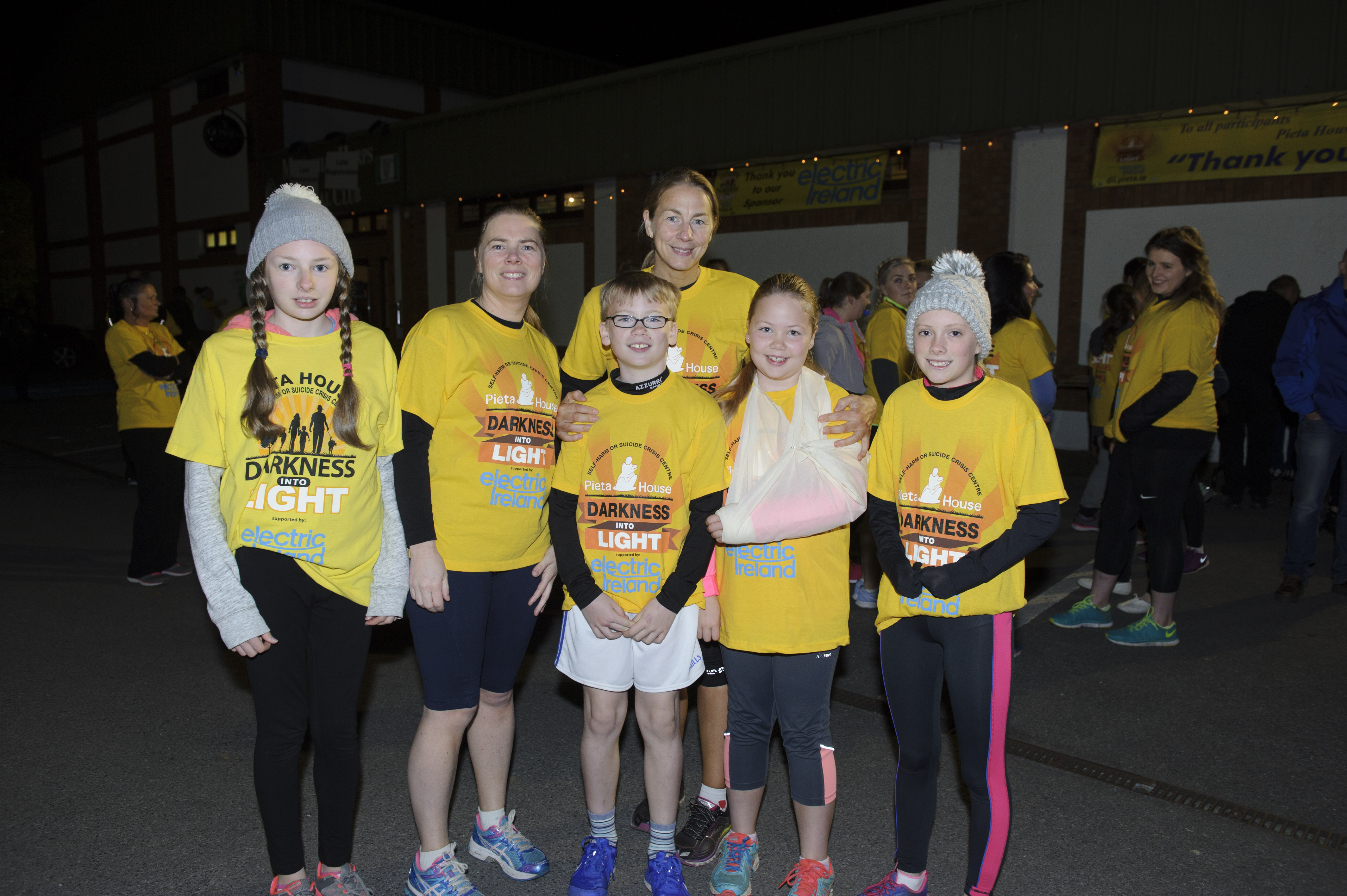 At the Monaghan Darkness Into Light 5k were (L-R) Megan Prunty, Cheryl McCaffrey, Colin Sheridan, Diane Sheridan, Emily Sheridan and Hannah McCaffrey. ©Rory Geary/The Northern Standard