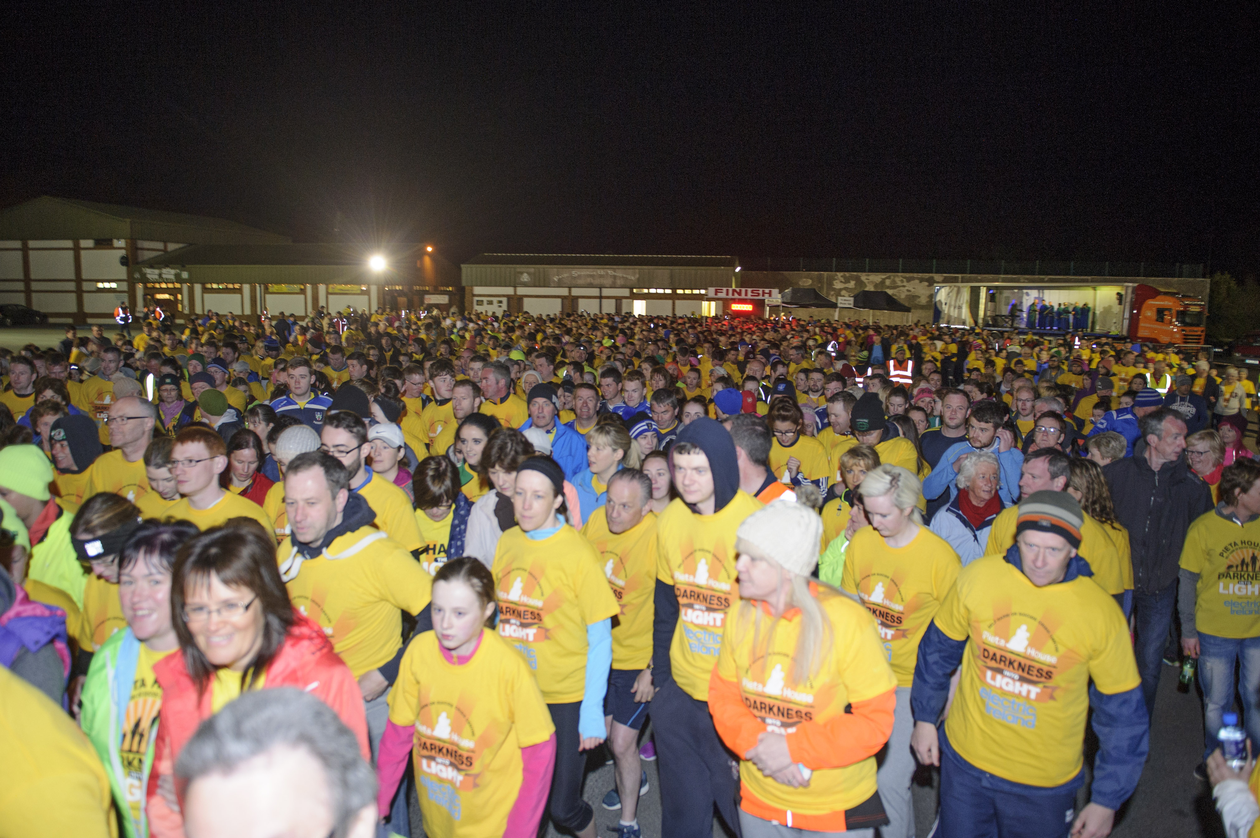 Some the runners as the started the Darkness Into Light 5k for Pieta House at the Monaghan Harps GFC. ©Rory Geary/The Northern Standard