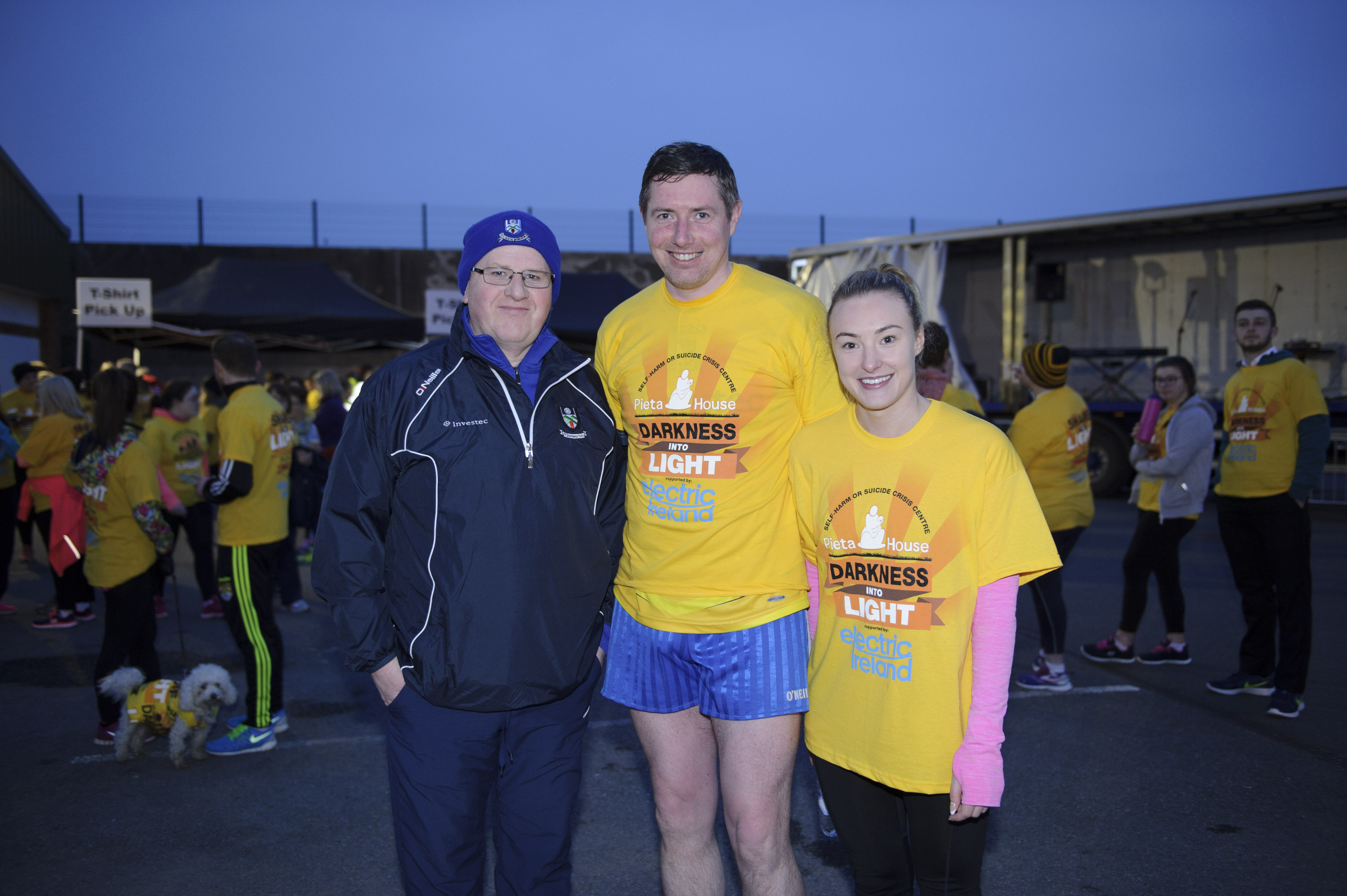 At the Monaghan Darkness Into Light 5k were (L-R) Michael Owen McMahon, Francis Ward and Nicola Reilly. ©Rory Geary/The Northern Standard