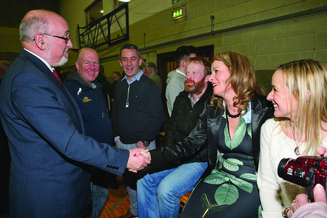 Caoimhghín Ó Caoláin congratulates Niamh Smyth at the Cavan-Monaghan Count Centre.  Pic.  Pat Byrne.