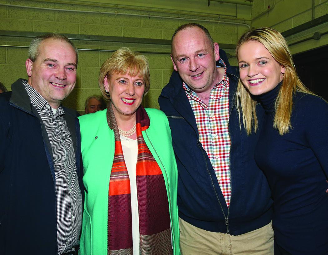 David Maxwell, Heather Humphreys, Sean Gilliland and Ciara McPhillips at the Cavan-Monaghan Count Centre.  Pic.  Pat Byrne.