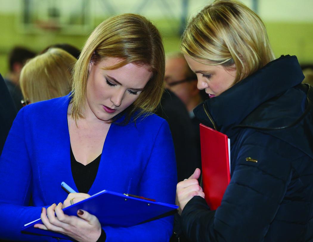 Eva Humphreys and Councillor Ciara McPhillips at the Cavan-Monaghan Count Centre.  Pic.  Pat Byrne.