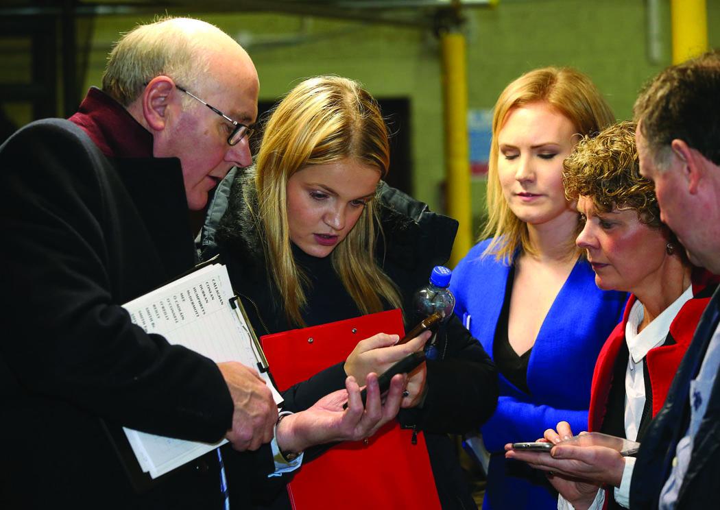 At the Cavan-Monaghan Count Centre on Saturday last are (L-R) Bernard O'Brien, Ciara McPhillips, Eva Humphreys, Eimhear Holohan and Eoin Lavery.  Pic.  Pat Byrne
