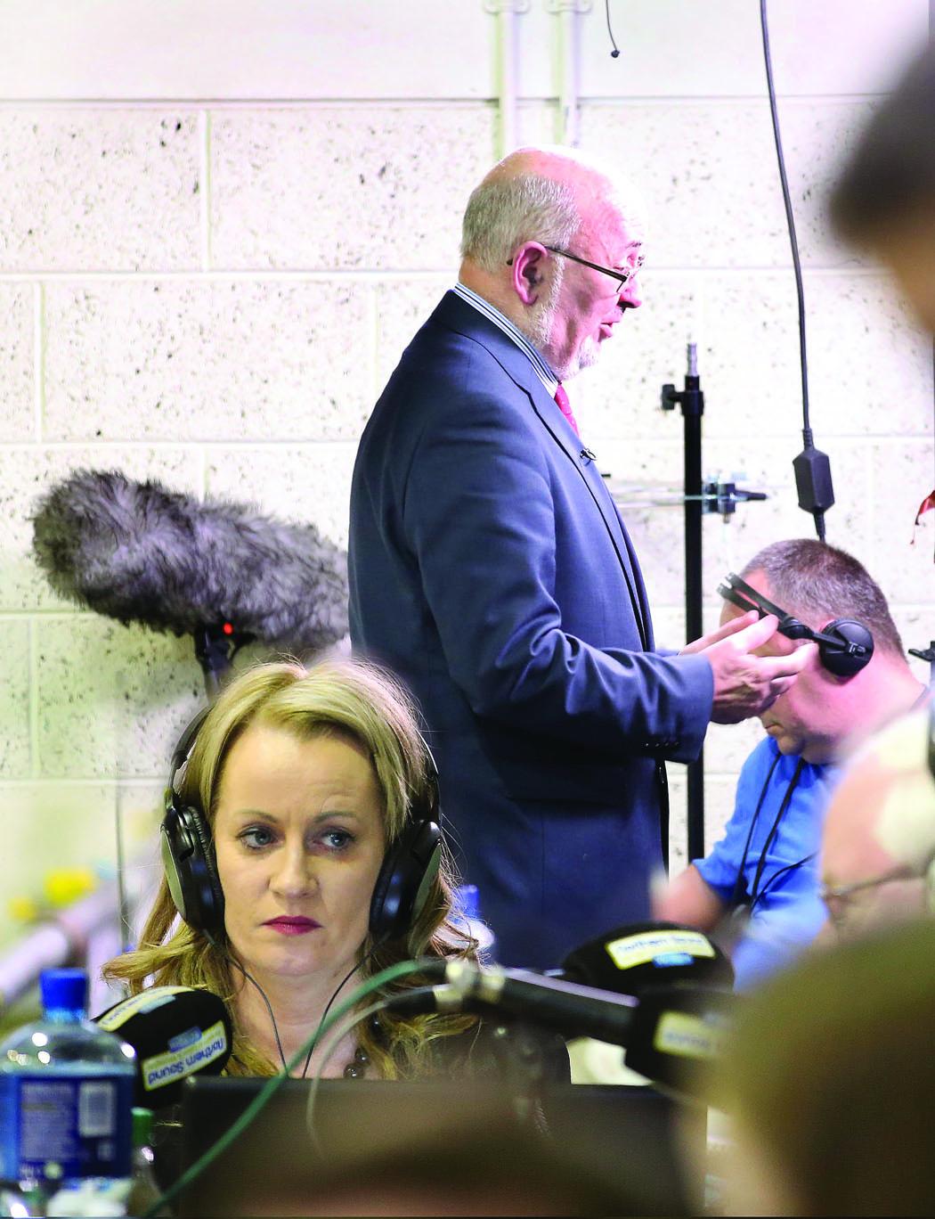 Newly elected TD's Caoimhghín Ó Caoláin and Niamh Smyth giving their first interviews to the Northern Sound and RTÉ, at the Cavan-Monaghan Count Centre on Sunday evening last.  Pic.  Pat Byrne.