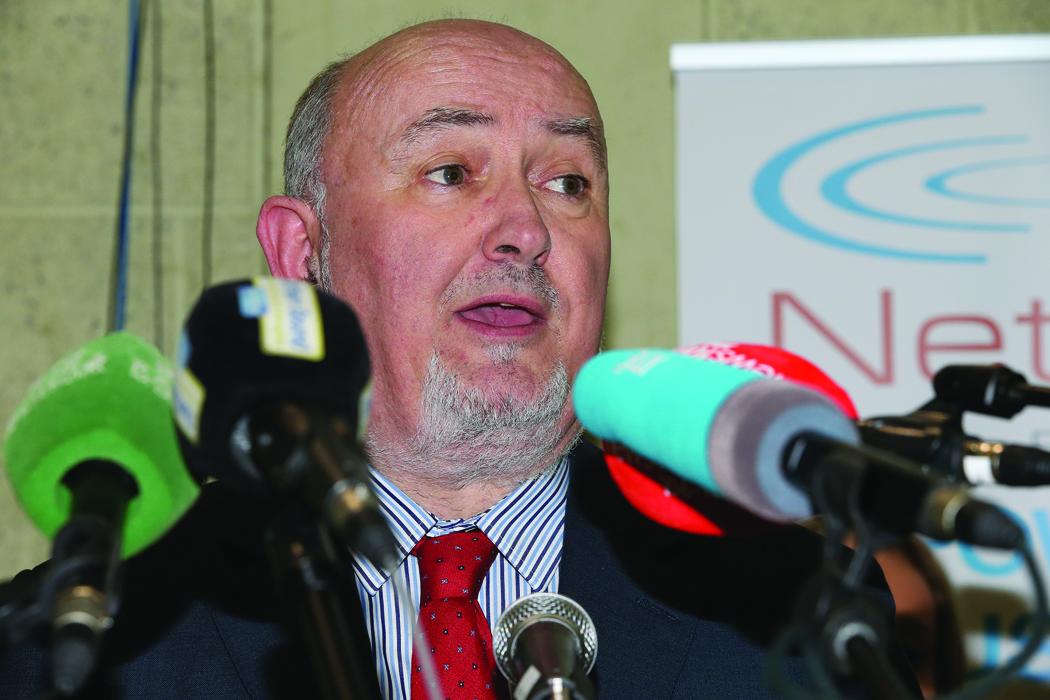 Caoimhghin Ó Caoláin (Sinn Fein) speaking after his re-election to the 32nd Dáil.  Pic.  Pat Byrne.