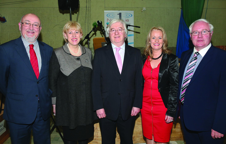 The four TD's for Cavan-Monaghan pictured with the returning officer Joe Smith (centre) are Caoimhghin Ó Caoláin (Sinn Fein), Heather Humphreys (Fine Gael), Niamh Smyth (Fianna Fáil) and Brendan Smith (Fianna Fáil).  Pic.  Pat Byrne.