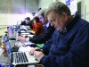 Northern Standard journalists Michael Fisher who was tweeting on behalf of the Northern Standard and Michael McDonnell checking the count votes at the Cavan-Monaghan Count Centre.  Pic.  Pat Byrne.