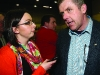 Cianna McNally Northern Standard journalist interviewing Padraig McNally at the Cavan-Monaghan Count Centre.  Pic.  Pat Byrne.