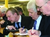 Jackie Crowe tallying at the Cavan-Monaghan Count Centre on Saturday last.  Pic.  Pat Byrne.