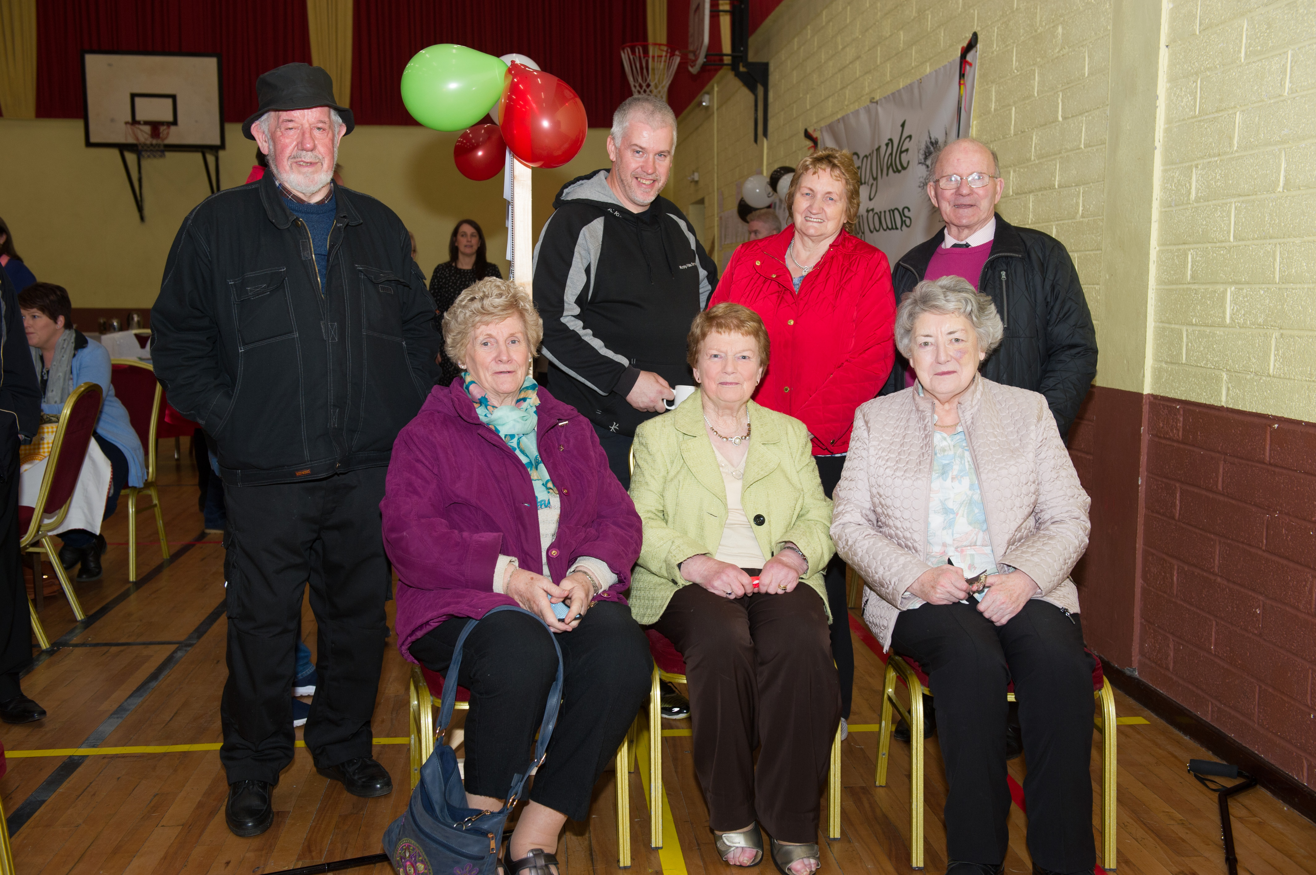 At the Emyvale Tidy Town's 50th anniversary celebrations were front (L-R) Marie Murphy, Nancy McCluskey and Mae McAree. Behind (L-R) Frank Murphy, Fabian Murphy, Marie Kerr and Seamus McAree. ©Rory Geary/The Northern Standard