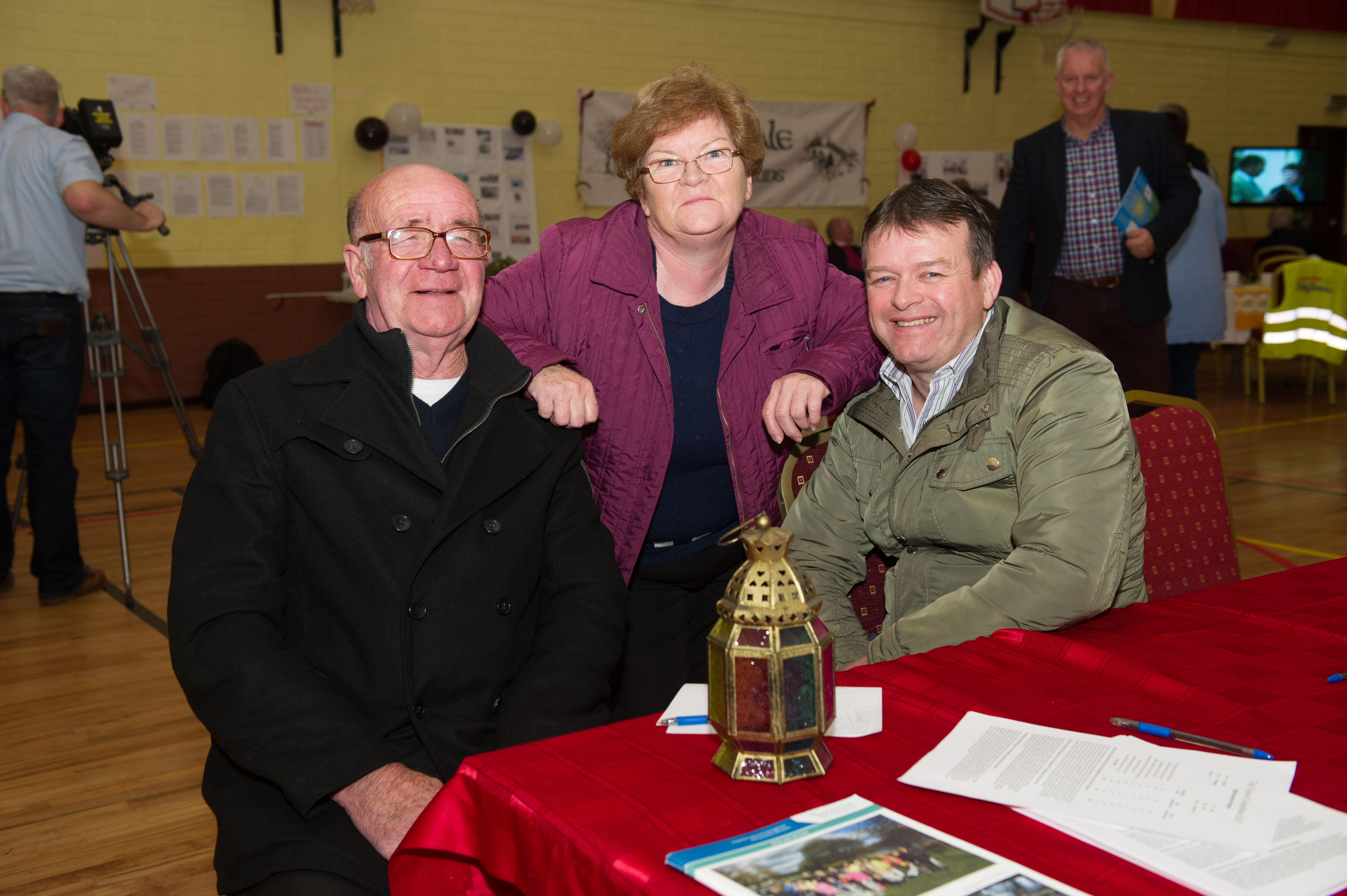 At the Emyvale Tidy Town's 50th anniversary celebrations in Emyvale Leisure Centre were (L-R) Leo McMahon, Anna Watterson and Joe Fields. ©Rory Geary/The Northern Standard