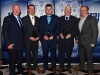 Cathal Smyth (Sponsor), Anthony Marron (Senior League Referee), Fintan Finnegan (Intermediate League Referee), Jim O'Rourke (Hurling League Referee) with Noel Duffy who presented them with their Awards. © Northern Standard
