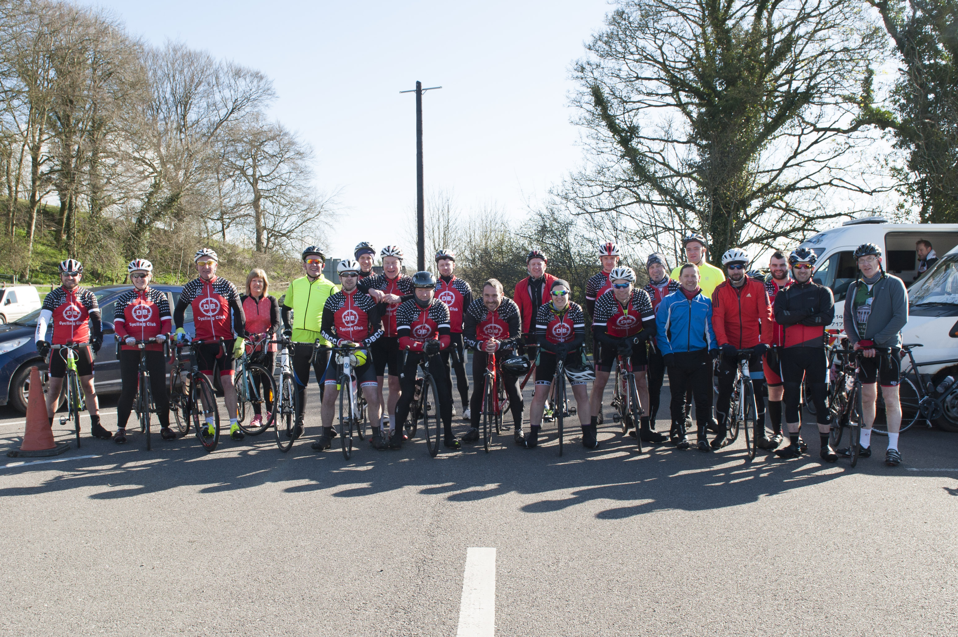 Some of the group from DB Cycling Club, who took part in the cycle in aid of Scoil Mhuire, Gransha. ©Rory Geary/The Northern Standard