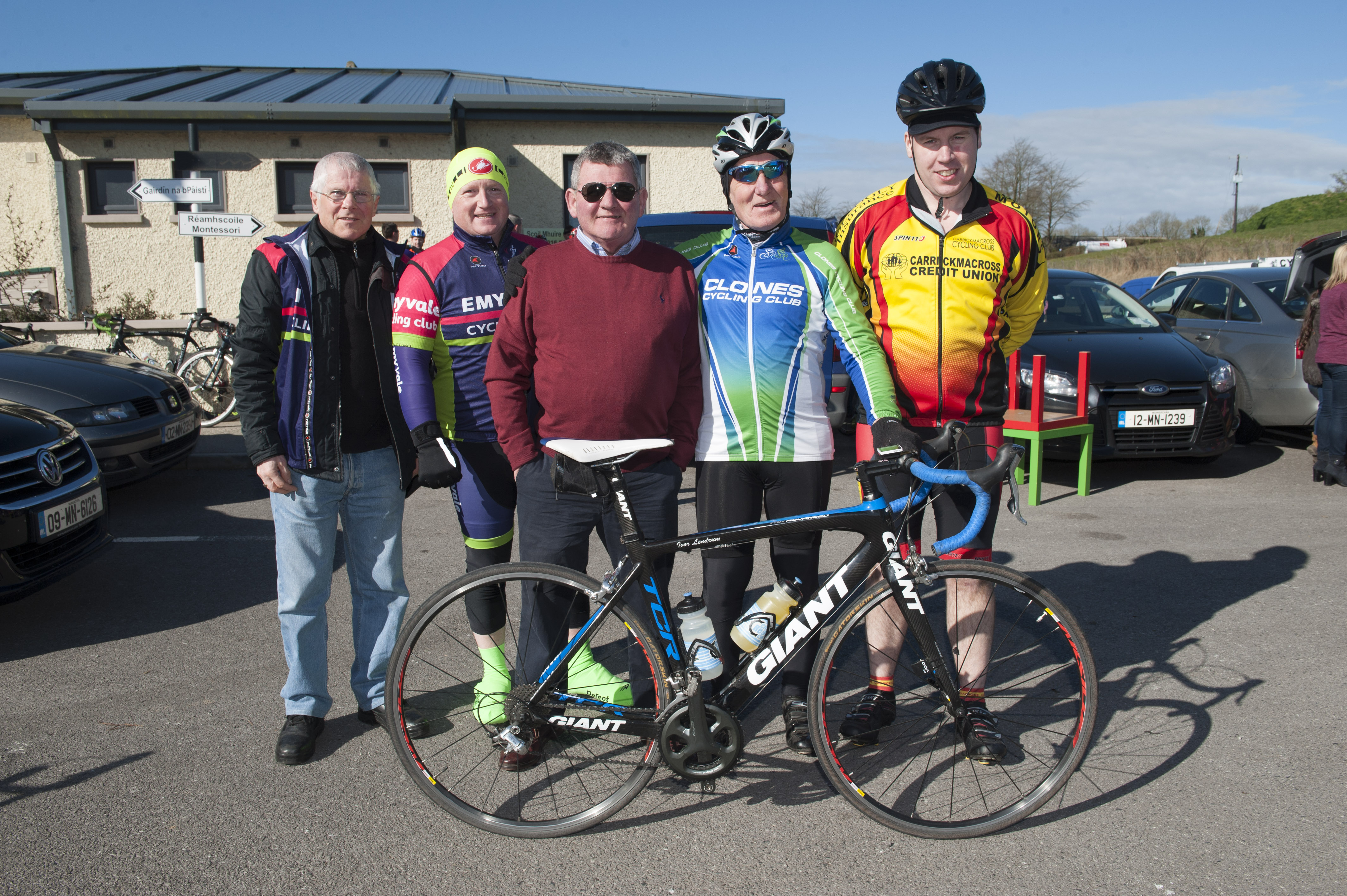 At the cycle for Scoil Mhuire, Gransha on Sunday morning last were (L-R) Martin Rushe, Barry Cassidy, Francie McQuaid, Ivor Lendrum and Gerard McCourt. ©Rory Geary/The Northern Standard