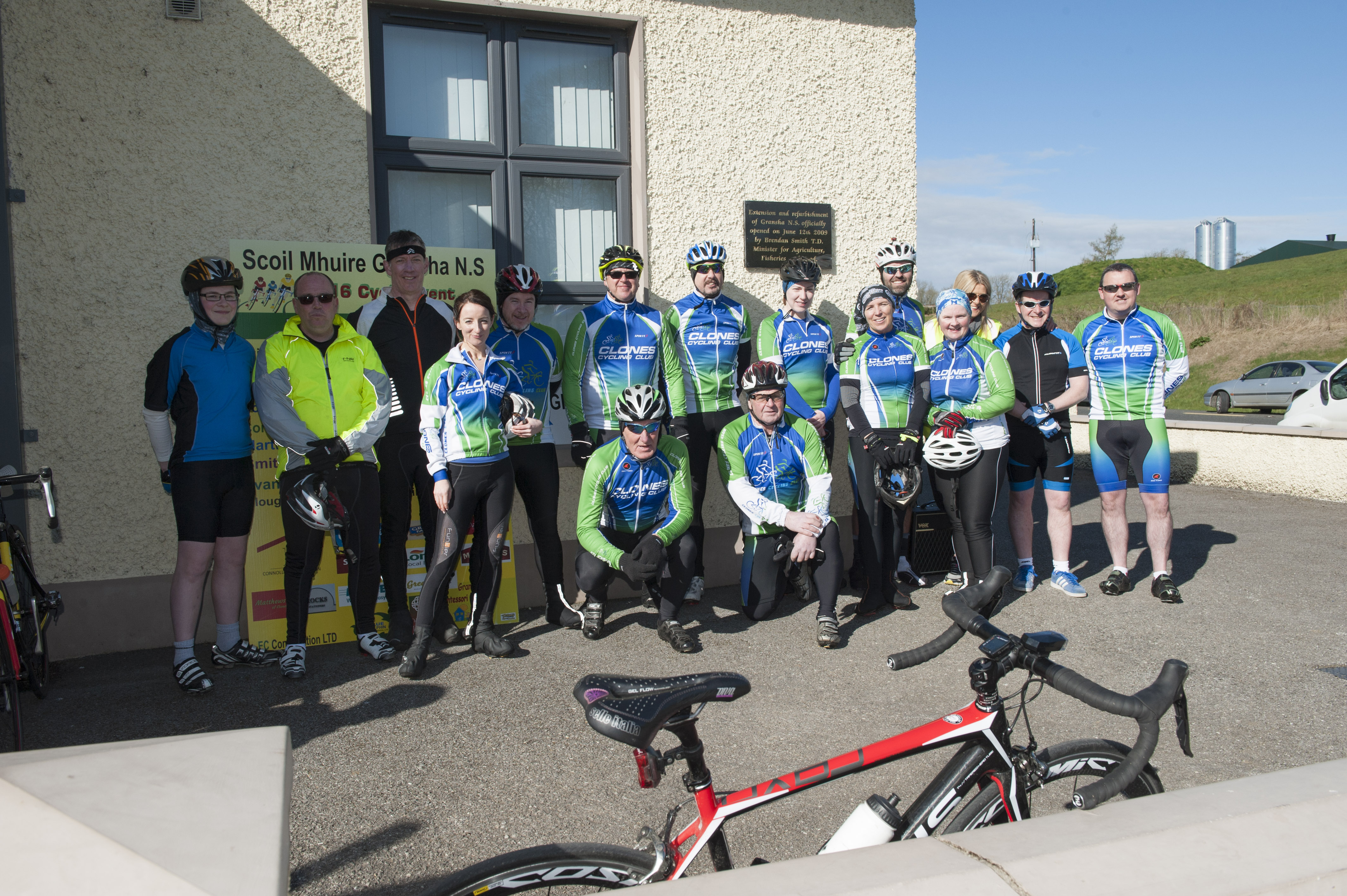 Some of the members of the Clones Cycling Club at the cycle for Scoil Mhuire, Gransha, on Sunday morning last. ©Rory Geary/The Northern Standard