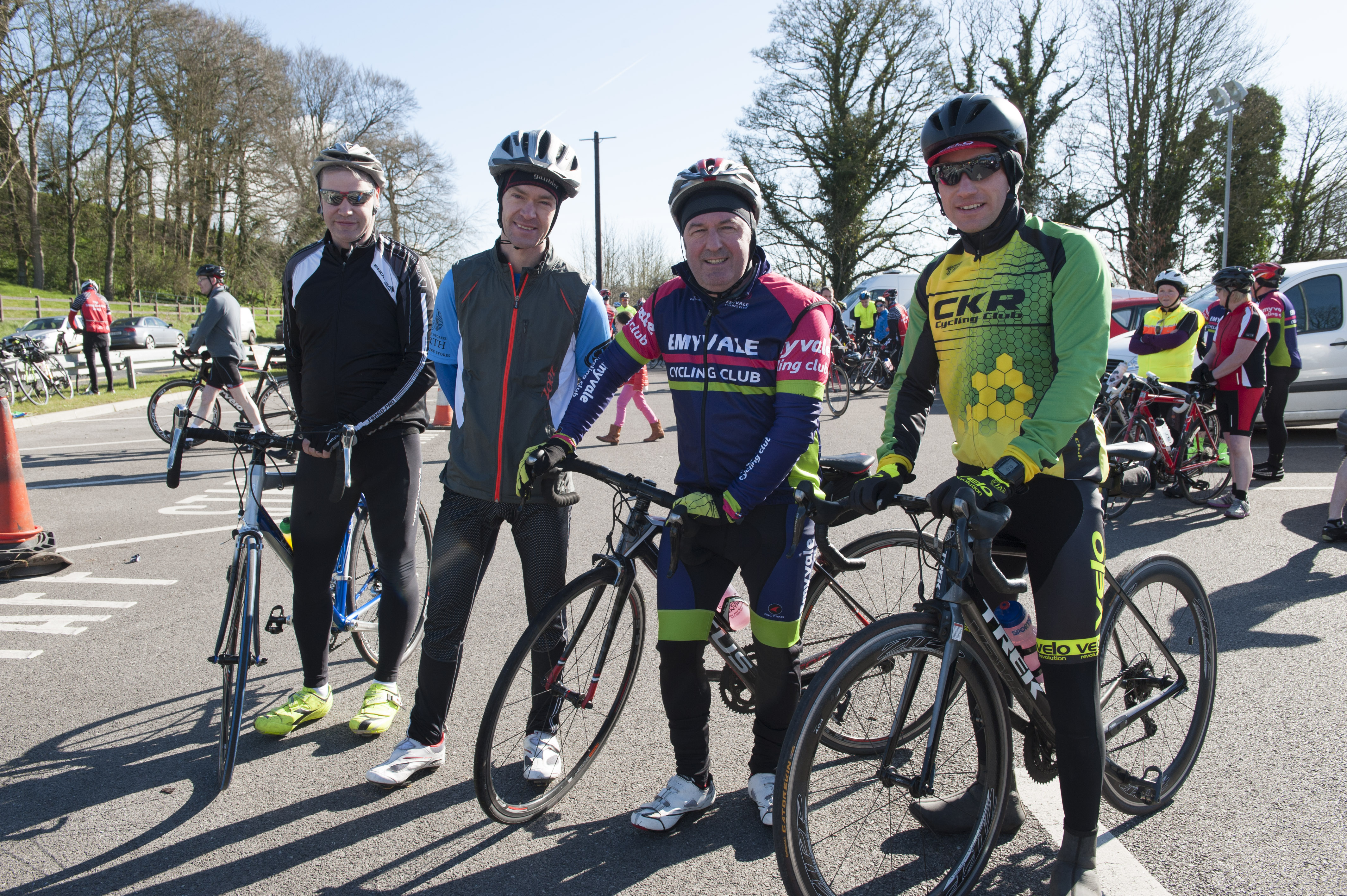 Pictured at the cycle for Scoil Mhuire, Gransha were (L-R) Alex McCabe, Adrian Farrell, Martin Killoran and Paul McGee. ©Rory Geary/The Northern Standard
