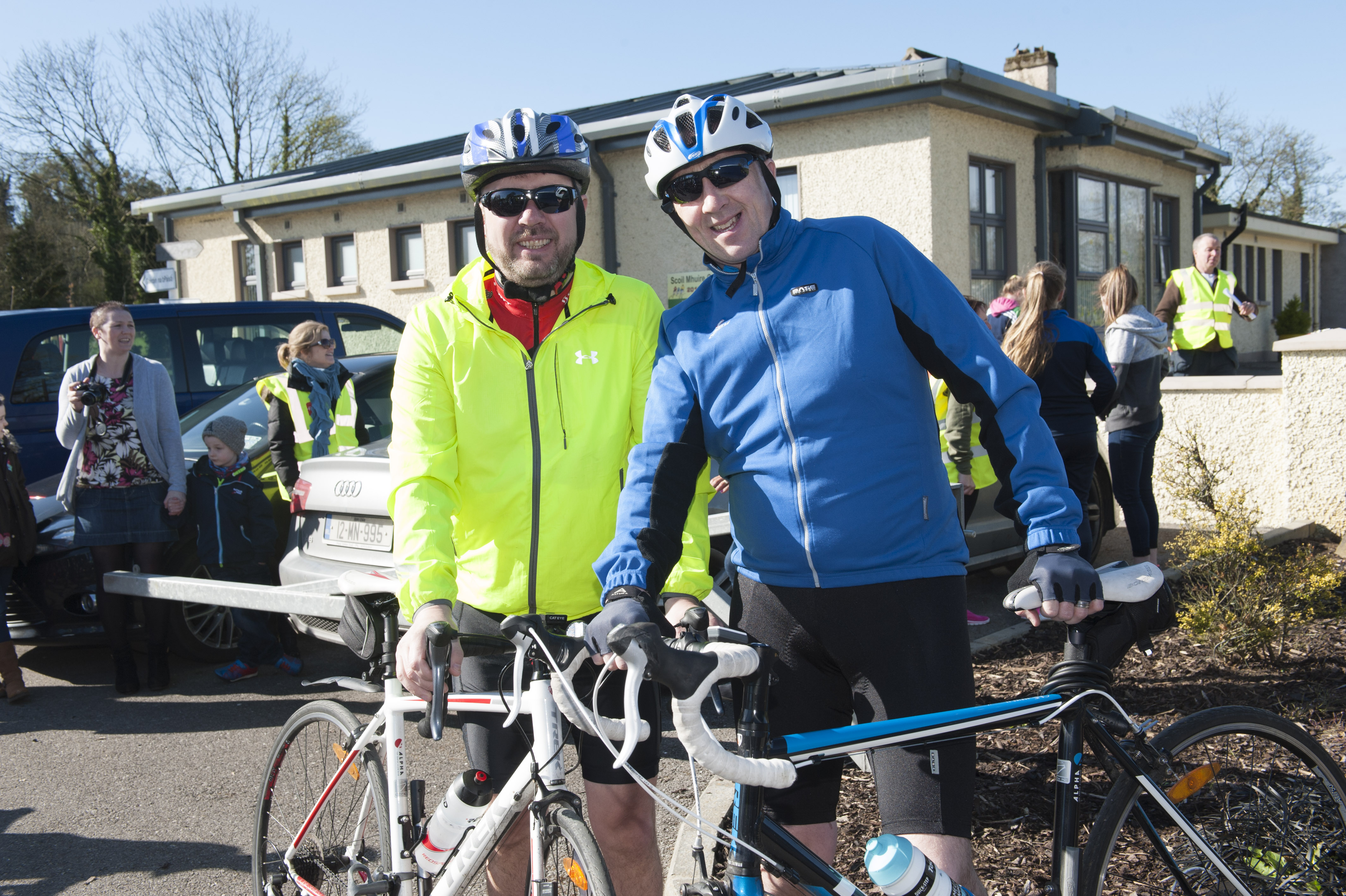 Shane Mulligan and Declan Smyth at the cycle for Scoil Mhuire, Gransha, on Sunday morning last. ©Rory Geary/The Northern Standard