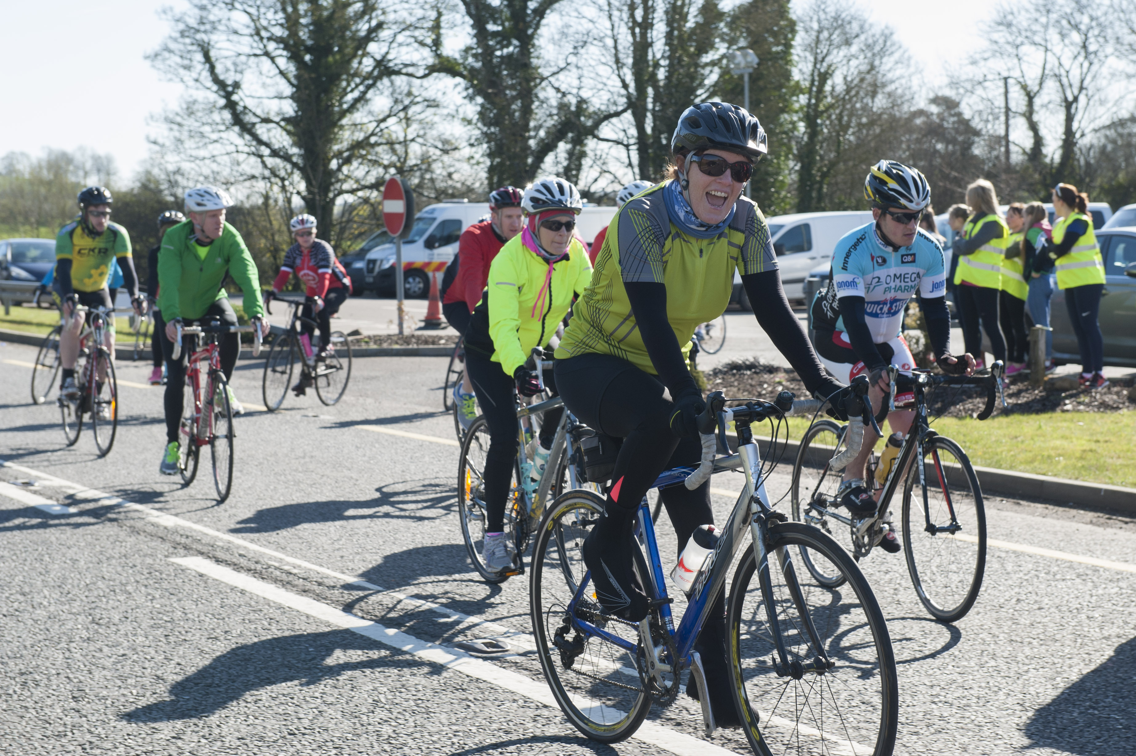 Some of the cyclists starting on the cycle for Scoil Mhuire, Gransha, last Sunday morning. ©Rory Geary/The Northern Standard