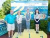 The winners of the 7-8 Girls Front Crawl, with Norman Griffin. ©Rory Geary/The Northern Standard