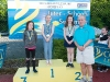 The winners of the 7-8 Girls Breast Stroke, with Norman Griffin. ©Rory Geary/The Northern Standard