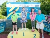 The winners of the 9-10 Girls Back Crawl, with Norman Griffin. ©Rory Geary/The Northern Standard