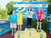 The winners of the 11-12 Girls Breast Stroke, with Norman Griffin. ©Rory Geary/The Northern Standard